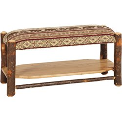 Rustic Hickory Log Upholstered Bench with Shelf