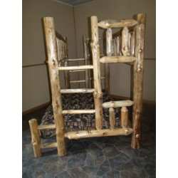 Rustic Aspen Log Complete Bunk Beds- Mission Style