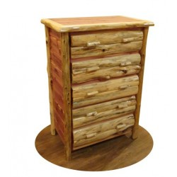 RUSTIC RED CEDAR LOG 5 DRAWER DRESSER