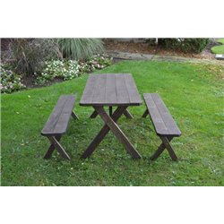 6 Foot Picnic Table with Benches in Walnut Stain