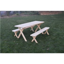 6 Foot Picnic Table with Benches in Unfinished