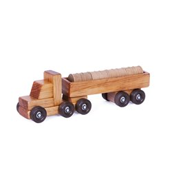 Small Wooden Tractor Trailer Truck with Barrels