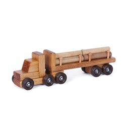 Small Wooden Tractor Trailer Log Truck with Logs