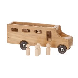 Small Wooden School Bus with Little People in Harvest Stain