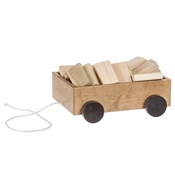 Wooden Wagon Pull Toy with Blocks Harvest
