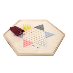 Wooden Double Sided Standard Checkers and Chinese Checkers Board Game - Back