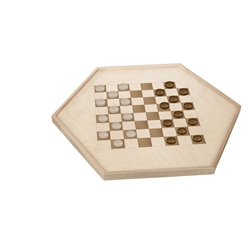 Wooden Double Sided Standard Checkers and Chinese Checkers Board Game - Front