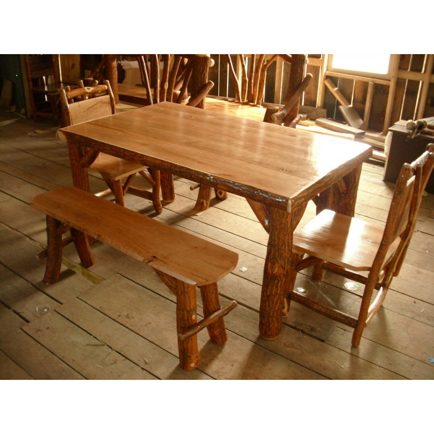 Rustic Sassafras Table Chairs and Benches Set Cherry
