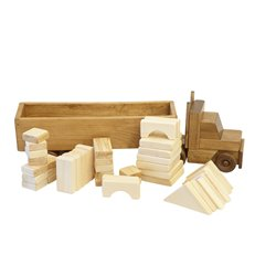 Wooden Toy Tractor and Trailer Truck