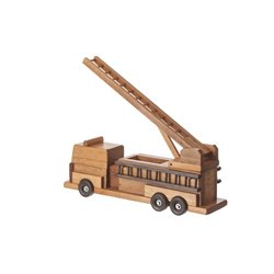 Wooden Fire Truck with Working Ladder in Painted or Stained