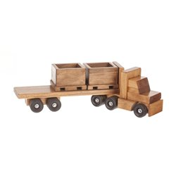 Wooden Toy Truck with Skid Trailer and 3 Skids - Optional Fork Lift Add On