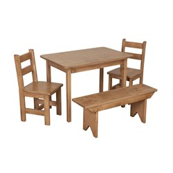 Child's Real Wood Table & 2 Chairs and 1 bench - Harvest