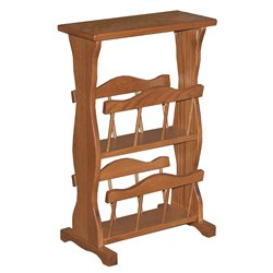 Oak Accent Table with Storage Rack