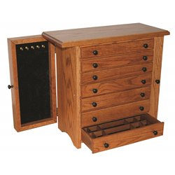 Oak 7 Drawer Jewelry Chest With Wings