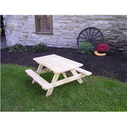 """Kid's Picnic Table (22"""" Wide) - Unfinished"""