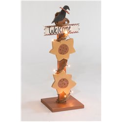 Primitive Sunflower Welcome Sign on Post