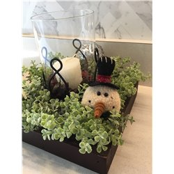 Christmas Candle Tray with Snowman
