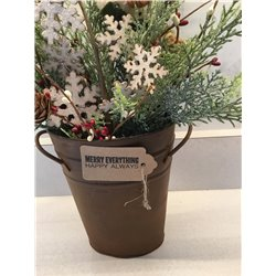Christmas Rustic Bucket Centerpiece with Snowman