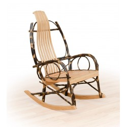 2 Rustic Hickory and Oak Rockers - Twig Arms