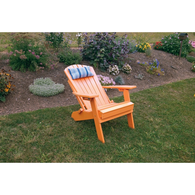 ... Polywood Folding Adirondack Chair   Orange   Reclined With Pillow ...