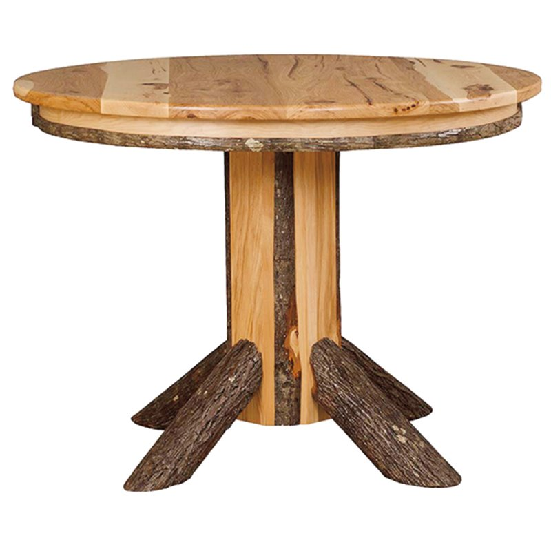 Rustic Hickory Single Pedestal Round Dining Table - 42 or 48 inches Round