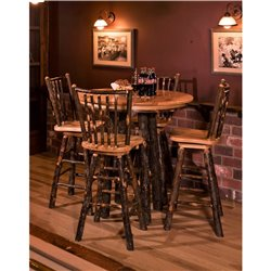 Rustic Hickory Bar Height Pub Table - Round Top - 2 Sizes