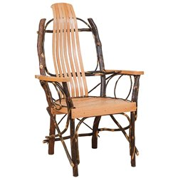 Rustic Hickory Contour Slat Back Dining Chairs with Arms - Set of 2