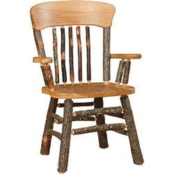 Set of 2 Panel Back Rustic Hickory Log Dining Chairs with Arms