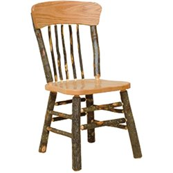 Set of 2 Panel Back Rustic Hickory Log Dining Chairs