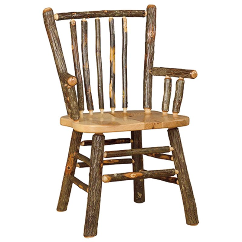 Set of 2 Rustic  Hickory Stick Back Arm Chairs
