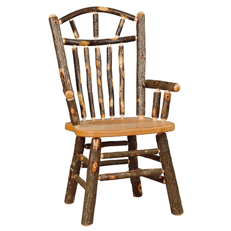 Set of 2 Hickory Wagon Wheel Rustic Arm Chairs
