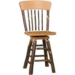 Rustic Hickory Panel Back Swivel Stool - Counter or Bar Height