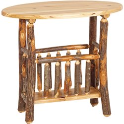 Rustic Hickory Oval Magazine End Table