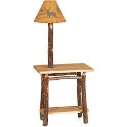 Rustic Hickory Rectangular End Table with Lamp