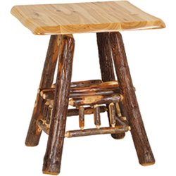 Rustic Hickory Adirondack Wavy End Table