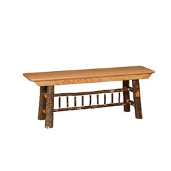 Rustic Hickory Farm Bench - 2/3/4/5 Foot