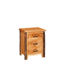 Rustic Hickory Night Stand - 3 Drawers