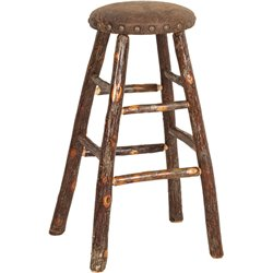 """Rustic Hickory Upholstered Kitchen Stool - 24"""" or 30"""""""