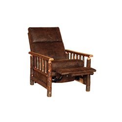 Rustic Hickory Upholstered Recliner with Foot Rest