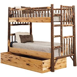 Rustic Hickory Log Twin over Tiwn Bunk Bed with Trundle