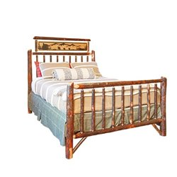 Rustic Hickory Metal Art Bed - Twin / Full / Queen / King