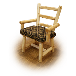 White Cedar Log Set of 2 Captain Dining Chairs - Upholstered Seat
