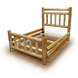 White Cedar Log Rustic Style Bed With Double Headboard Rail