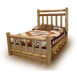 Classic White Cedar Log Platform Bed with Double Top Rail & Footboard