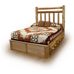 Classic White Cedar Log Platform Bed with Double Top Rail