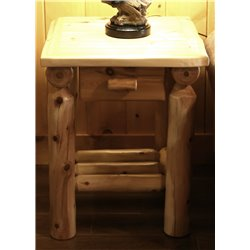 Classic White Cedar Log Small Nightstand with Drawer