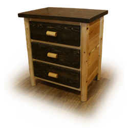 White Cedar Log Mountain Collection 3 Drawer Chest