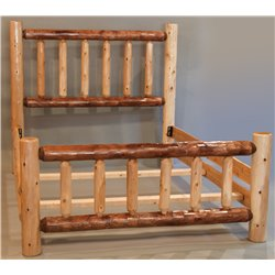 Rustic Two Tone White Cedar Log Mission Style Bed