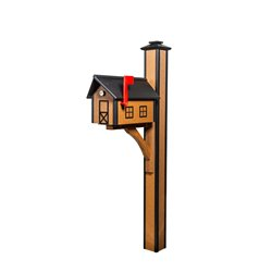 Poly Roof Standard Mailbox with Post