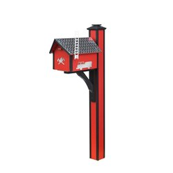 Fire Department Deluxe Mailbox with Post